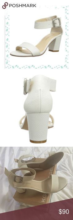 KURT GEIGER white leather sandals MONDAY FLASH Gorgeous white leather sandals.  Beautifully made. Barely worn. I had ankle surgery so they sadly don't work for me. I LOVE them though.  They are SOOO flattering and the block heel makes  them easy to wear. Kurt Geiger Shoes