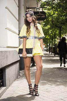vestido #BeatrizPeñalver, bolso de #JulietteUniqueBags y pañuelo de @DiaBla. #Look, #estilismo, #invitadaperfecta, modaespañola, #desfile, #ohmyspringchic OhMyChic.es: The New Banana Split - Ana Sánchez.
