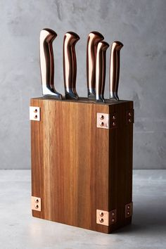 Anthropologie Wood & Copper Knife Block- #WeddingRegistry LOVE