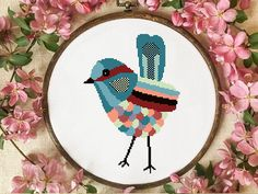 Geometric bird modern cross stitch pattern, easy counted cross stitch chart, instant download, cute animal, abstract, hoop embroidery diy