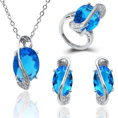 The new high-end jewelry Hearts and Arrows Classic Blue Topaz Micro Pave zircon pendant necklace earrings ring jewelry sets 1403 - ExtremShopping for Fashion Electronics Beauty and Health