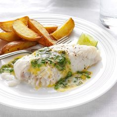 Haddock with Lime-Cilantro Butter Recipe -In Louisiana the good times roll when we broil fish and serve it with lots of lime…
