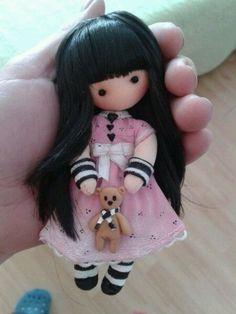 Doll kind of Gorjuss Tiny Dolls, Soft Dolls, Cute Dolls, Diy Doll Pattern, Doll Patterns, Homemade Dolls, Kawaii Doll, Polymer Clay Dolls, Sewing Dolls