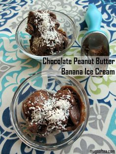 Easy to make chocolate peanut butter banana icecream. Doesn't require an ice cream maker, and it's vegan too! Peanut Butter Banana, Chocolate Peanut Butter, Vegan Desserts, Dessert Recipes, Cream Mugs, Banana Ice Cream, Ice Cream Maker, Frozen, Pudding