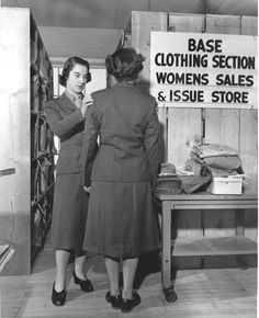 Checking Women Marines for proper uniform fit is one of First Lieutenant Hermine L. Winkelbech's many jobs at the Marine Corps Base, Camp Pendleton, Calif., where she is Assistant Accountable Officer for the Base Clothing Section. Female Marines, Us Marines, Women Marines, Base Clothing, Marine Corps Bases, Camp Pendleton, Military Women, Women In History, Usmc