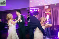 The bride & groom show off their moves on the dancefloor. Weddings at Tulfarris Hotel & Golf Resort, photographed by Couple