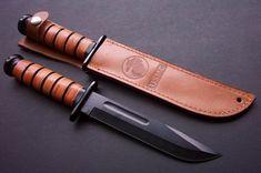 Kabar 1217 USMC Fighting/Utility Knife, PlainEdge, Leather Sheath