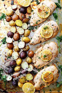 Honey garlic lemon chicken with potatoes
