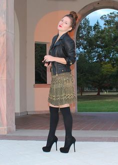 Megan of TF Diaries in the LT Metallic Pleated Dress. Love it with the leather!