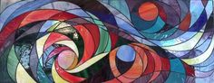 Cosmic Swirl $1200 (SOLD) Stained glass abstract mosaic.