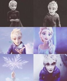 """Queen Elsa and Jack Frost >>>in case you haven't noticed, I'm officially shipping them!! ...although I have yet to see """"Guardians"""" :("""