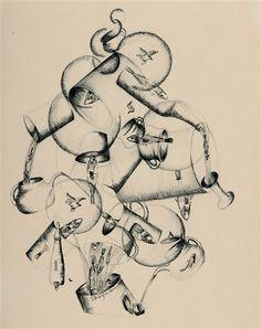 Ella Bergmann-Michel - Komposition mit Fischen.1921. Ink pen over pencil on drawing paper