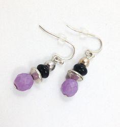 Purple Earrings, Black Earrings, Onyx Earrings, Dangly Earrings, StrandzJewelry by StrandzJewelry on Etsy Purple Earrings, Dangly Earrings, Black Earrings, Drop Earrings, Acrylic Beads, Shades Of Purple, Black Onyx, Silver Plate, Turquoise