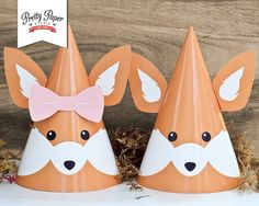 Woodland Fox Party Hats // INSTANT by ThePrettyPaperStudio on Etsy