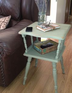Vintage Side Table W Spindle Legs Annie Sloan Chalk Paint Old