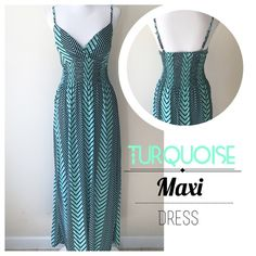 """Turquoise/Black Maxi Dress Turquoise/Black summer dress. Adjustable shoulder straps. Padded chest area. Dress stretches, the middle part is also stretchable. Same pattern all around. Very pretty dress to enjoy.  Content: 95% Polyester  5% Spandex  Woman's Dress: Measures: Pit to pit: 14""""(stretches to 19"""") Middle part: 12""""(stretches to 18"""")  Total length of the dress: 53""""  ▪️NWT ▪️Smoke/Pet Free No Trade  Happy Poshing  Dresses Maxi"""