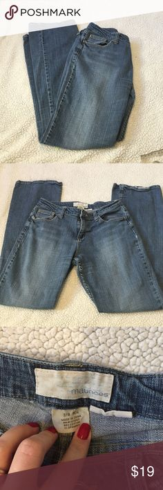 """Maurices Taylor boot cut jeans Guc, some fraying on the bottom of the legs. Selling as is. Waist measures 14"""" (stretches to about 15"""") inseam is 31.5"""" Maurices Jeans Boot Cut"""