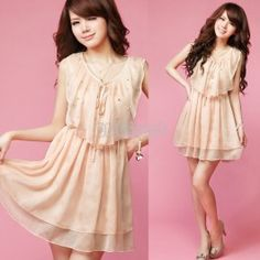$9.80 Sweet Comely Pearl Lace Up flouncing Sleeveless Chiffon Dress