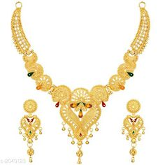 Checkout this latest Jewellery Set Product Name: *Women's Alloy Gold Plated Jewellery Set* Easy Returns Available In Case Of Any Issue   Catalog Rating: ★4.2 (257)  Catalog Name: Women'S Alloy Gold Plated Jewellery Set CatalogID_271184 C77-SC1093 Code: 622-2049123-294