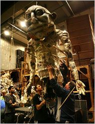 """Giant puppets backstage at """"Satyagraha,"""" at the Metropolitan Opera House in NYC."""