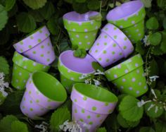 Painted Flower Pot - Polka Dots - 4 Inch Planter - Polka Dot Planter - Herb Planter - Succulent Planter  These pretty pots are just the right size for a grouping of succulents or herbs! In the color combinations of your choice, they are covered from head to toe with polka dots. Brighten a space in your home or patio, or gift it!  The pots measure 4 inches tall in the saucer, and 4 1/4 inches wide at the top. They are double-sealed, so work well indoors or out.  This listing includes one…