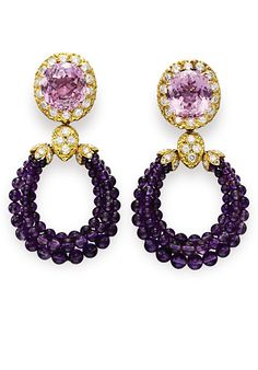 "Van Cleef & Arpels Kunzite, Amethyst and Diamond ""Triphanes"" earrings from Christie's sale of Elizabeth Taylor's jewels via InStyle.comvia InStyle.com"