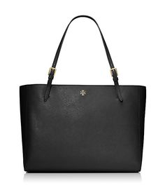 Tory Burch YORK BUCKLE TOTE, good pockets inside, not too big, smaller size also, scratch resistant leather