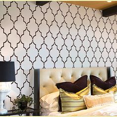 Why use expensive wallpaper when you can simply stencil your walls with this trendy Marrakech Trellis Stencil! Cutting Edge Stencils offers