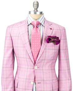 Isaia | Pink Plaid with Olive Windowpane Sportcoat | Apparel | Men's