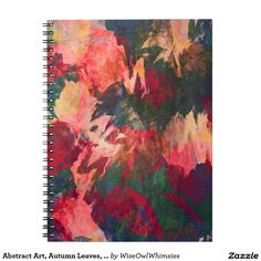 Abstract Art, Autumn Leaves, Red Green Gold Pink