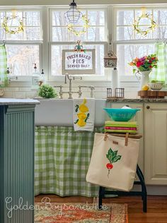 Spring decor in farmhouse style kitchen with farmhouse sink with sink skirt and green and white check and yellow accents. Farmhouse Sink Kitchen, Farmhouse Decor, Craftsman Kitchen, Cottage Kitchens, Kitchen Cupboard, Country Farmhouse, Modern Farmhouse, Kitchen Styling, Kitchen Decor