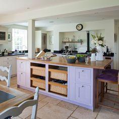 Purple kitchen island.....interesting