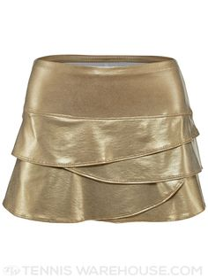 Lucky in Love Women's Moroccan Metallic Scallop Gold Tennis Skirt