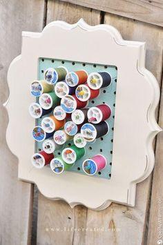 thread storage on craft room pegboard Bobbin Storage, Thread Storage, Space Crafts, Home Crafts, Diy Crafts, My Sewing Room, Sewing Rooms, Sewing Spaces, Craft Room Storage