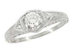 Cubic Zirconia Engagement Rings Art Deco 19