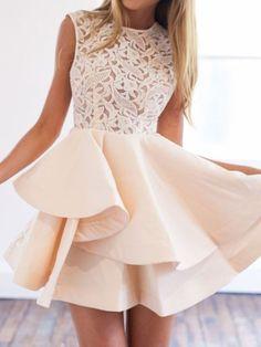 Beige Sheer Lace Crochet Tiered Skater Dress
