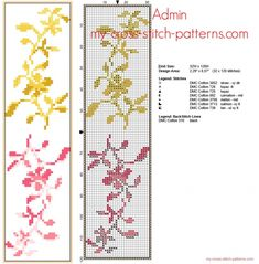 Segnalibro punto croce schema gratis con piccoli fiori gialli e rosa