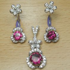 Brilliant Cut Pink and White CZ 925 Sterling Silver Two in One Jewelry Set