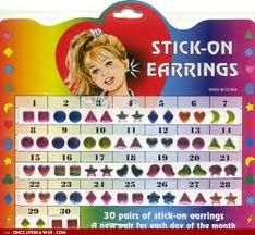 Stick-On Earrings. I stuck these on my then-unpierced ears as kid I wonder if they still exist.