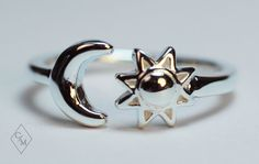 Moon and Sun Ring in Silver by CharmAloneJewelry on Etsy, $83.00