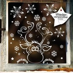 Window picture Christmas moose window sticker Snowflakes REUSE ** Reusable window stickers moose with snowflakes With these stickers you can make your Christmas decoration complete. You will all envy Christmas Decals, Christmas Window Decorations, Christmas Moose, Christmas Wall Art, Christmas Wreaths, Christmas Crafts, Christmas Window Paint, Etsy Christmas, Christmas Windows