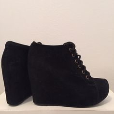 """Jeffrey Campbell Black Suede Lace Up Wedge Booties These Jeffrey Campbell suede booties are in great condition and have been worn 2-3X only.  They're lace ups and have hidden wedges that are approximately 4"""" high. Please feel free to ask me any questions, share, like, and/or make an offer! :) Jeffrey Campbell Shoes Ankle Boots & Booties"""