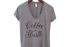 Coffee & Hustle | Women's T-Shirt | Boxy Tee | Scoop Neck | Womens Shirt | Heather Grey | Gift for Her | Gift for Mom | Eco-Friendly | Women's Fashion | Graphic Tee | Blogger Style