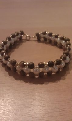 Three Paths- Wood and Glass Pearl Right Angle Weave Bracelet