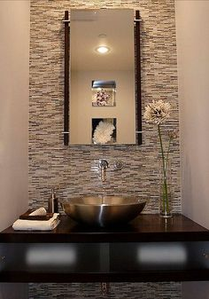 Modern Powder Room Small Bathroom Design, Pictures, Remodel, Decor and Ideas Modern Powder Rooms, Modern Room, Small Powder Rooms, Modern Spaces, Powder Room Design, Wall Mount Faucet, Glass Mosaic Tiles, Mosaic Wall, Guest Bath