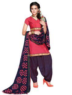 Exquisite Peach And Violet Cotton Salwar Suit - Salwar Suits - Rakhi Sale