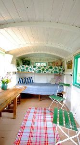 Inside the Apple Shepherd Hut, vintage Suffolk glamping