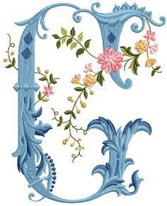 alfabeto celeste con flores G