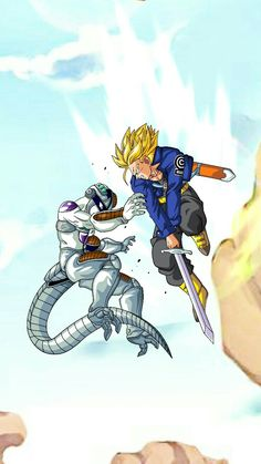 Dragon Ball Z Android Saga Fan Art Future Trunks & Frieza Dope Cartoons, Disney Cartoons, Dragon Ball Gt, Akira, Wallpaper Animé, Dbz Wallpapers, Dbz Characters, Happy Cartoon, Dragon Pictures