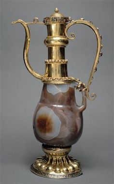 Ewer. 12thc. Part of the Treasure of the St Denis Abbey. France. Silver-gilt, filigree gold sardonyx, pearls, precious stones. The Louvre Museum